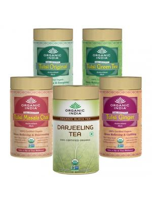 Organic India Set of 5 Flavoured Tea Tins