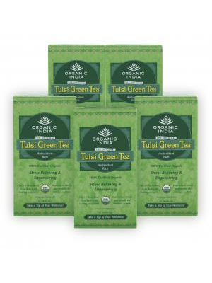 Organic India Tulsi Green Tea- Pack of 5 400gm