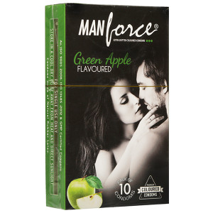MANFORCE CONDOMS EXTRA DOTTED GREEN APPLE (COLOURED) 10'S