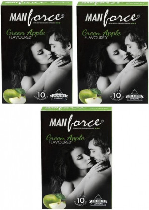 MANFORCE CONDOMS EXTRA DOTTED GREEN APPLE (COLOURED)SET OF 3*10
