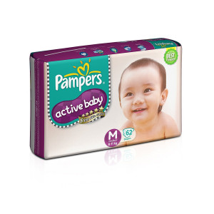 PAMPERS ACTIVE BABY (M) 62'S