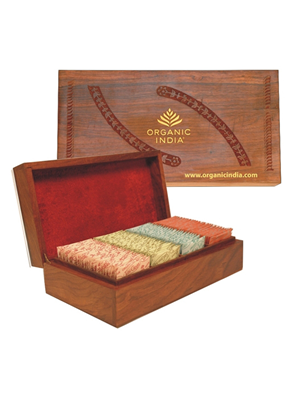 Organic India Wooden Box Big 100 Tea Bag