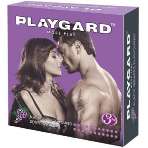 Playgard Dotted Condom Black Grapes Pack of 3*4