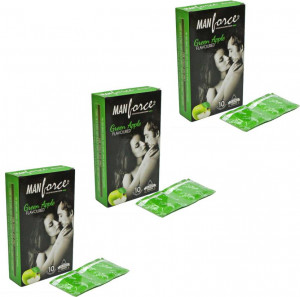 MANFORCE CONDOMS EXTRA DOTTED GREEN APPLE (COLOURED)5* 3'S