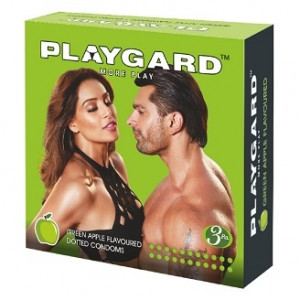 Playgard Dotted Condom Green Apple Pack of 3*4