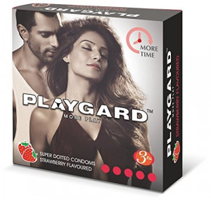 Playgard More Time Super Dotted Condom Strawberry Pack of 3*4